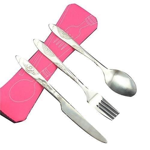 3 unids/Set de vajilla portátil de Acero Inoxidable Impreso Cuchara Tenedor Cuchillo para Carne Juego de Cubiertos de Viaje vajilla con Bolsa