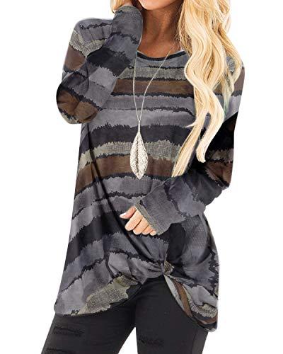 YOINS Camiseta de manga larga para mujer, asimétrica, cuello redondo, sudadera suelta, patchwork Multicolor gris. XL