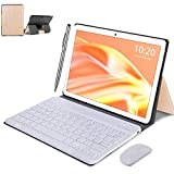 Tablet WiFi 4G 10.1 Pulgadas, 2 in 1 Tablet con Teclado 4GB RAM+ 64GB ROM /128GB Escalables , Android 10 Tablet PC Quad-Core 8MP, 8000mAh Dual SIM/OTG/Bluetooth Tablet con Teclado y Raton (Oro)
