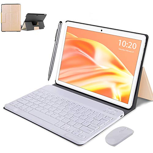 Tablet 10 Pollici con Wifi Offerte , 2 in 1 4G Tablet PC Android 10 4GB RAM 64GB / 128GB Espandibili Tablet in Offerta 8000mAh Dual SIM 8MP Portatili e Tablet GPS WiFi OTG (oro)