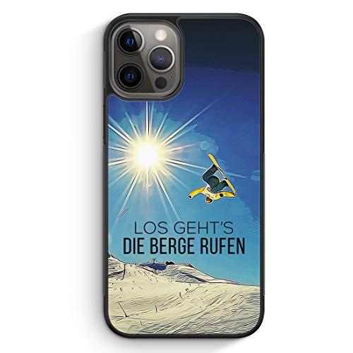 Los Geht's Die Berge Rufen Snowboard - Silikon Hülle für iPhone 12 Pro Max - Motiv Design Sport Schön - Cover Handyhülle Schutzhülle Case Schale