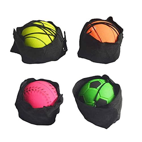 Nikula Bola de Pulsera de Goma 4 unids, Bola de Retorno de la muñeca, Incluye Pelota de Baloncesto de fútbol softbol y Pelota de Tenis Juguetes, Banda de muñeca para niños Adultos Ancianos Comfy