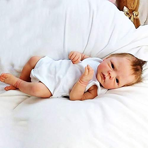 YANE Reborn Baby Doll Niño/Niña Suave Silicona Cuerpo Completo 18 Pulgadas 46Cm Hermosa Realista Muñeca Recién Nacida,Girl