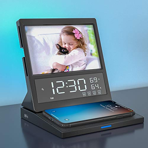 Digital Alarm Clock Radio with 15W Wireless Charging, Bedside Colorful Night Light, Mirror, Picture Frame LED Display Temperature Humidity Calendar, 4 Alarm, Adjustable Alarm Volume for Bedroom