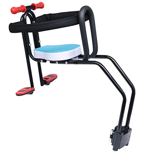 Great Price! CLISPEED Kids Bike Front Seat Riding Bicycle Baby Seat with Handrail Mountain Bike Seat...