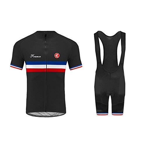 Uglyfrog Maillot Cyclisme Homme Manches Courtes Cuissard Vélo Cyclisme avec 3D Gel Rembourré Respirant Séchage Rapide pour Le Tour de France A01
