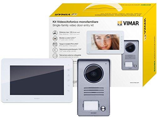 Vimar K40910 Kit videoportero de superficie contenido: videoportero con teclado capacitivo LCD 7 in, placa de entrada audio/vídeo, alimentador con clavijas intercambiables, gris