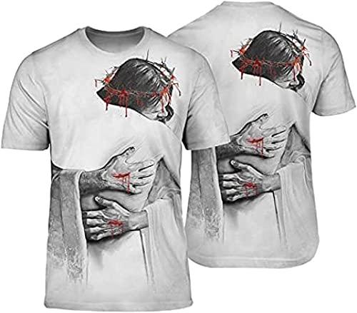 HSBZLH Maglietta Calcio Bambino Viking Tattoo Jesus Magliette Stampate in 3D da Donna per Uomo Summer Tops-6Xl
