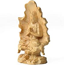 HYBAUDP Statues Buddha Decoration, Chinese Boxwood Carving Guanyin Bodhisattva Buddha Statue Religious Articles Home Deskt...