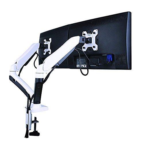 GSA22DS Gas Spring Desk Mount Double Twin LCD Monitor Arm Stand in White w/vesa Bracket & Monitor Arm: Free up/Down & Left/Right Motion