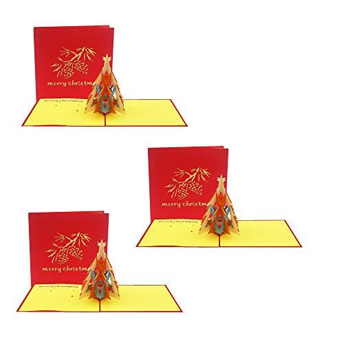 Ninrio 3D Card - Christmas tree 3D Card - Christmas card - pop up card. Used for Christmas 3D Card, Thank you 3D Card, Congratulation 3D Card and 3D Happy New Year Card (0433)