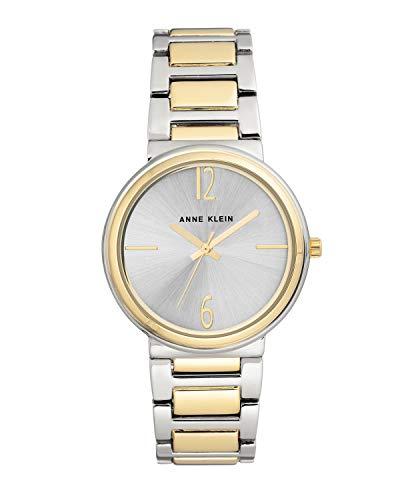 Anne Klein Reloj de pulsera analógico para mujer de cuarzo plateado con correa de metal AK/3169SVTT