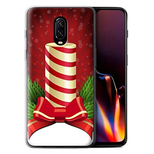 Stuff4 beschermhoes/cover/behuizing/gel/TPU/protetetiva bedrukt met motief kerstdecoratie voor OnePlus 6T - kaars/adventskaars