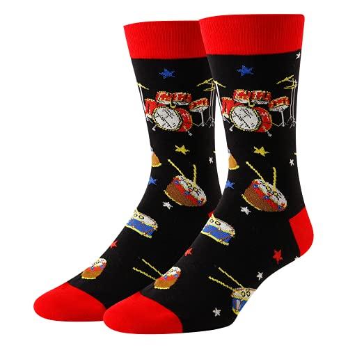 HAPPYPOP Drum Socks Music Socks Drummer Gifts for Men Music Gifts for Music Lovers Teacher Musician