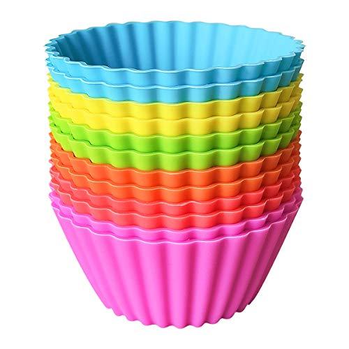Large Silicone Baking Cups, BiaoGan 12 Pack Jumbo Muffin Cup Liners, Large 3.54 inch Reusable Nonstick Cupcake Liners, 6 Rainbow Colors