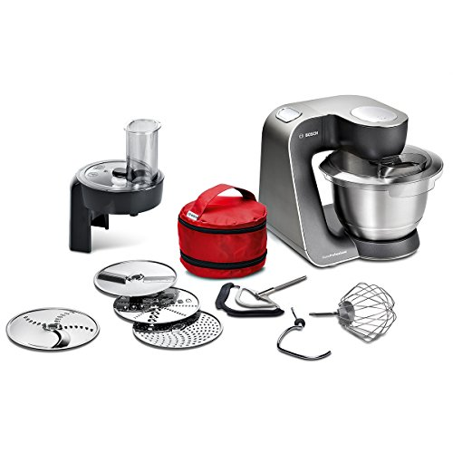 Bosch MUM5 HomeProfessional Küchenmaschine MUM59N26DE, große Edelstahl-Schüssel (3,9l), 3 Profi-Rührwerkzeuge Edelstahl, automat. Kabeleinzug, 1000 W, anthrazit/edelstahl