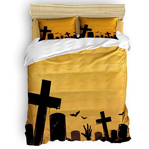 Bedding Duvet Cover 4 PCS Set – Soft Breathable Microfiber Quilt for Adults Kids Teen – Luxurious & Hypoallergenic Lightweight Comforter Cover, Halloween Graveyard Bat - Twin