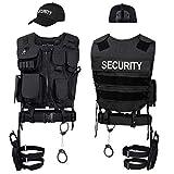 Black Snake SWAT FBI Police Security Kostm inkl. Einsatzweste, Pistolenholster, Handschellen und Baseball Cap - M/L - Security