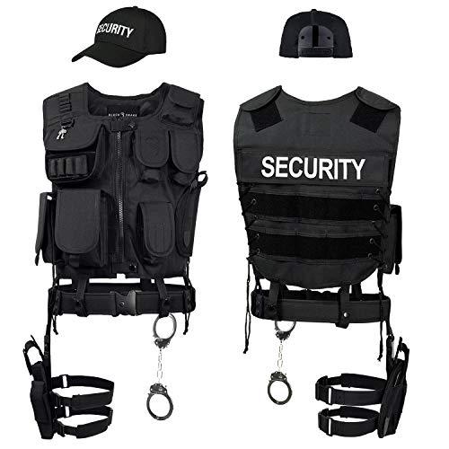 Black Snake SWAT FBI Police Security Kostüm inkl. Einsatzweste, Pistolenholster, Handschellen und Baseball Cap - XL/XXL - Security