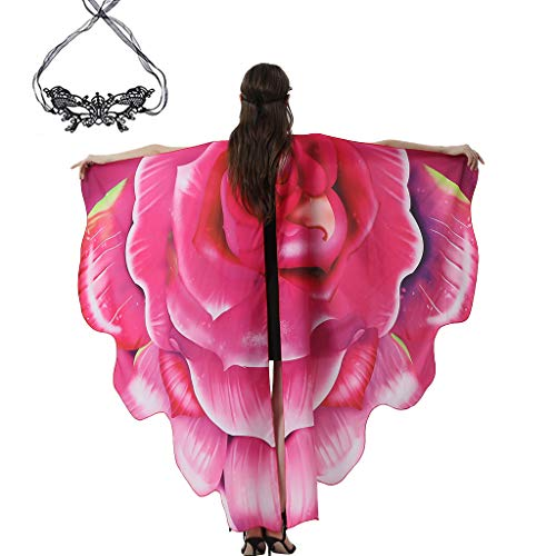 LWWOG Butterfly Wings Soft Butterfly Halloween Costumes Shawl Cloak Cape Fairy Lady Nymph Pixie with 1 Pcs Lace Cover for Women Girls Festivals Colorful Fashion Cosplay Holiday Carnival