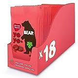 BEAR - Snack hecho al 100% de pura fruta en forma de rollito FRESA - Pack de 18 x 20 g, Sin Azúcar Añadido, Sin Gluten, Vegano