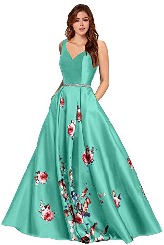 LL Bridal Women's 2 Piece Floral Prom Dresses 2019 Party Ball Gown (Dark Green, 2)