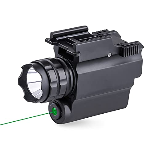 N \ A Gun Light 250 lúmenes Luz de Pistola compacta LED con Haz Verde y Combo de LED Blanco, Linterna táctica de Montaje en riel Compacto con riel Ajustable, alimentada por 1 batería CR123A
