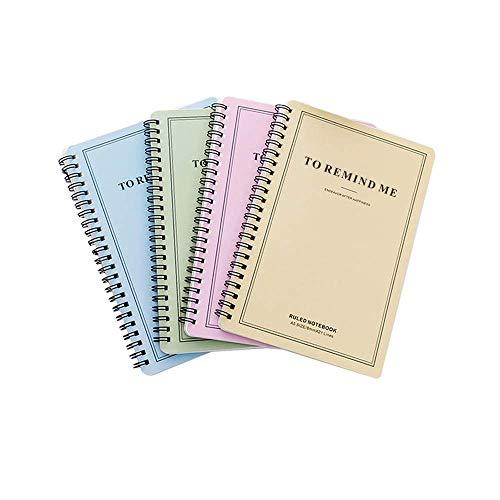 4 Piezas Cuaderno Adecuado para Escribir Cuadernos de Anillas A5 Cuaderno Espiral Especificación 80Gsm 60 Páginas (Rosa/Cian/Azul/Amarillo)