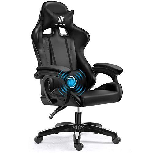 CEyyPD. Weew PC Racing Gaming Chair Bürostuhl Computer-Schreibtisch-Spiel-Stuhl, Carbon-Faser PU-Leder mit hohem Zurück Ergonomic 150 Grad justierbarer Drehstuhl mit Kopfstütze und Rückenstütze (rot)