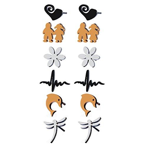 YAZILIND pendientes de acero inoxidable conjunto hombres mujeres chica elegante Studs flor libélula forma incluyó 6 pares