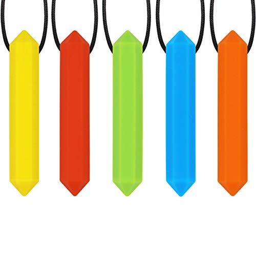Sensory Chew Necklace for Kids, Boys or Girls (5 Pack) - Chewing Necklace Teething Necklace Teether Necklace Chew Toys - Teething Toys Designed for Autism ADHD (5 Colors)