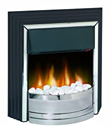 2 KW heat output Choice of two heat settings Choice of real coal or white pebble fuel bed, both included Freestanding - fits flat to wall Designed to fit flat to wall, no inset depth required Flame effect can be used independently of heat source