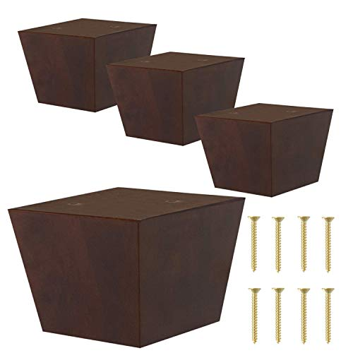 ComfortStyle Furniture Legs for Sofa Chair Couch or Ottoman, Set of 4 Replacement Feet, 3 Inch Tall, Square with Tapered Sides, Walnut Finish