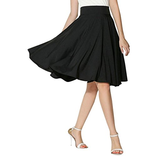 Women Solid Skirt Flared Retro Casual Knee Length Pleated Midi Office Work Skirts (X-Large, Black)