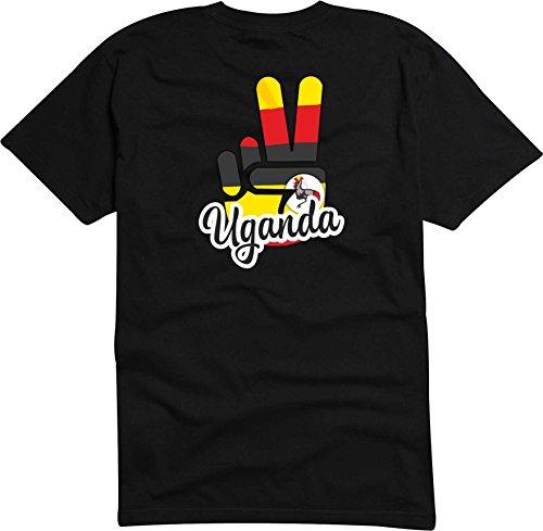 Black Dragon - T-Shirt Herren - JDM - Die Cut - schwarz - Flagge - Fahne - Uganda - Victory - Sieg - M - Fussball Sport Boxen Fight