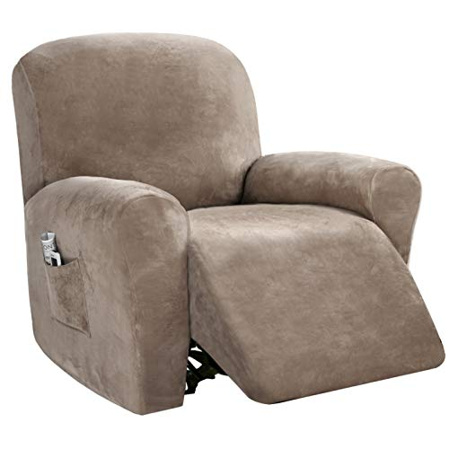 Velvet 4 Piece Stretch Recliner Covers Recliner Chair Covers for Leather and Cloth   Living Room Recliner Chair Slipcovers with Side Pocket, Extremely Thick Soft, Fitted 24 -33  Seat Width, Taupe