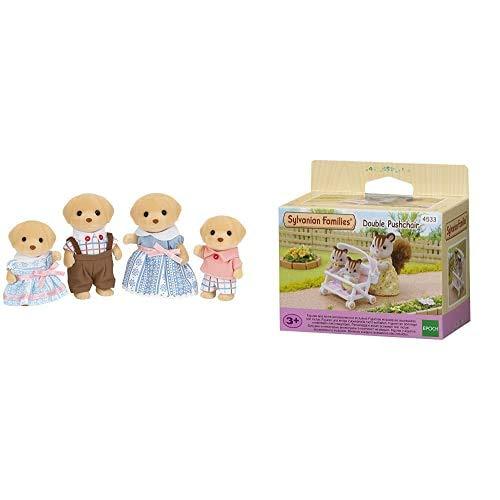Sylvanian Families - 5182 - Familia Perro Labrador + 4533 - Carrito Doble de bebés