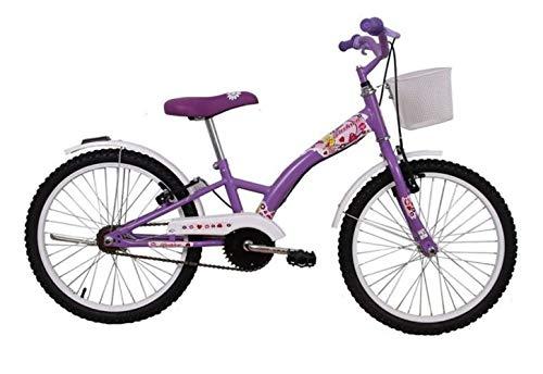 Bicicleta Infantil Aro 20 Feminina Fashion Lilas com Paralama e Cesta