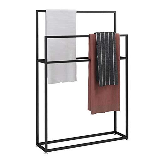 CHIYA 2-stufiger Handtuchhalter Aus Metall,Stand-up Handtuchhalter,Outdoor und Indoor-Balkon Schlafzimmer Minimalistischen HandtuchhalterBlack-75cm