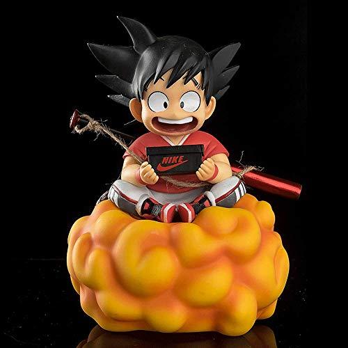 Figura de acción de Dragon Ball, 6.7 Pulgadas Figura de Son Goku, Versión Infantil, Sentado en la posición de Nube de Salto Mortal Sostenga una Caja de Zapatos y lleve un Modelo de Bate de béisbol