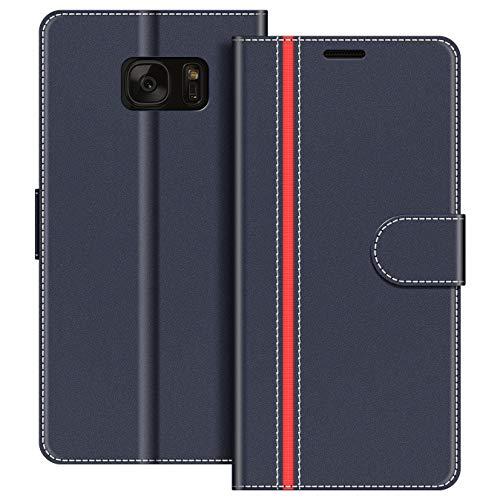COODIO Funda Samsung Galaxy S7 con Tapa, Funda Movil Samsung S7, Funda Libro Galaxy S7 Carcasa Magnético Funda para Samsung Galaxy S7, Azul Oscuro/Rojo