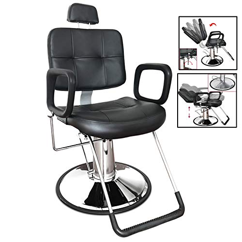 Paddie Barber Chair, Salon Chairs for Hair Stylist Heavy Duty Hydraulic Swivel Classic for Beauty Makeup Shampoo Spa Equipment, Black