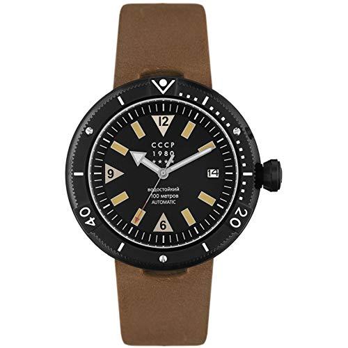 CCCP Kashalot Herren-Armbanduhr 47mm Armband Leder Braun Automatik CP-7027-01