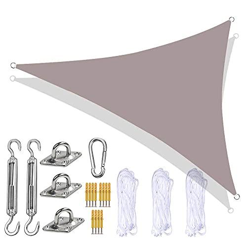 showyow Toldo Triangular, toldo para jardín con Kit de fijación Resistente, 3 Cuerdas, Impermeable, UV, toldo para Exterior, toldo para Patio, balcón, Caqui, 2,4 x 2,4 x 2,4 m
