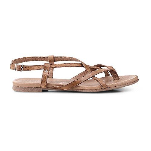Cox Damen Riemchen-Sandalette aus Leder, Zehentrenner in Braun mit Schnallen-Verschluss Braun Leder 39