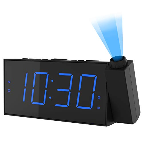 """OnLyee Projection Digital Alarm Clock   Loud Ceiling Clock for Bedroom   Alarm Large 7"""" LED Display & Dimmer   USB Charging and Battery   Backup for Heavy Sleepers Kids, Elders…"""