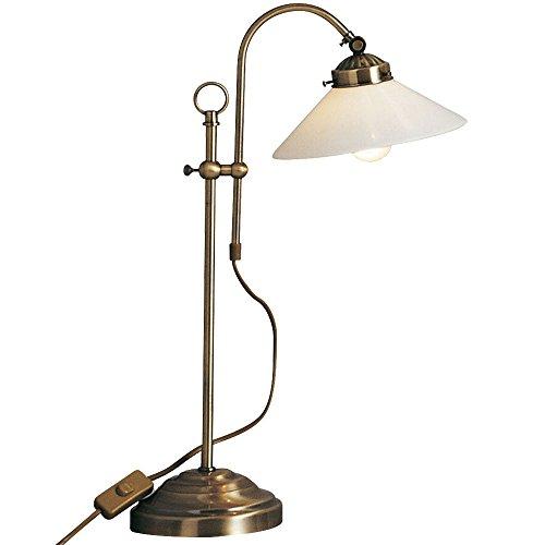 Bureaulamp retro messing antieke tafellamp landhuisstijl (hoogte 36 cm, nachtlampje, lampenkap glas, vintage, antiek messing)