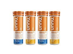 Box contains two tubes of each flavor: Blueberry Tangerine and Orange Citrus. Four tubes and 40 servings total Nuun Immunity's proprietary botanical blend is packed full of hydration-boosting Electrolytes, free-radical fighting Antioxidants, and inte...