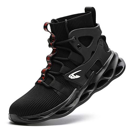 JUDBF Zapatillas de Trabajo con Punta de Acero Botas de Seguridad Comodas y Ligeras Zapatos de Seguridad Hombre Mujer Transpirables Antideslizante799Black/44