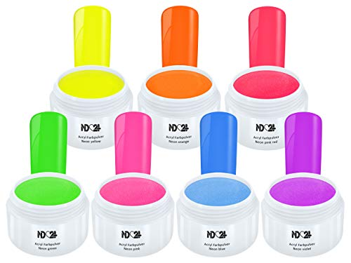 7 x 5g ACRYL NEON Farbpulver XXL Spar SET - nd24 BESTSELLER - Feinstes FARB Acryl-Puder Acryl-Pulver...